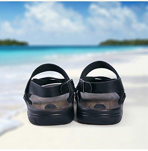 Sommer neue Männer Qualität Rindsleder Sandalen Bequeme weiche Unterseite Freizeit-Strand-Schuhe, Schwarzes, Großbritannien = 9.5, EU = 44