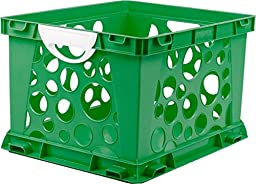 Storex Large Storage and Filing Crate with Comfort Handles, 17.25 x 14.25 x 10.5 Inches, Green/White, Case of 3 (STX61780U03C)