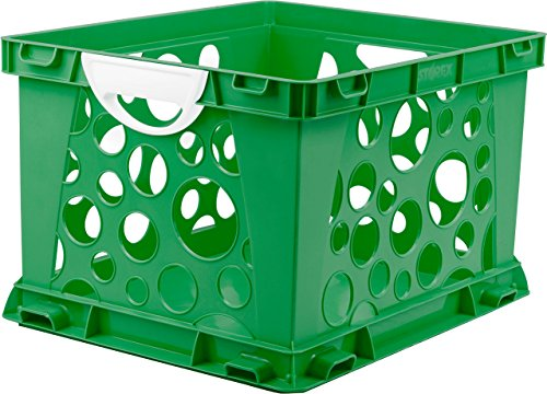 "Storex Premium File Crate with Handles, 17.25 x 14.25 x 10.5"", Classroom Green, Case of 3 (61458U03C)"