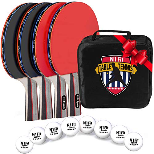 N1Fit Ping Pong Paddle Set - Includes 4 Player Rackets, 8 Professional Table Tennis Balls, Portable Storage Case for Indoor-Outdoor Play