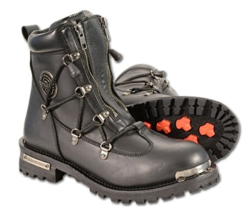 Waterproof Pull String Side Leather Girls Boots Motorcycle Zipper Lace Front Milwaukee nFfT7tw