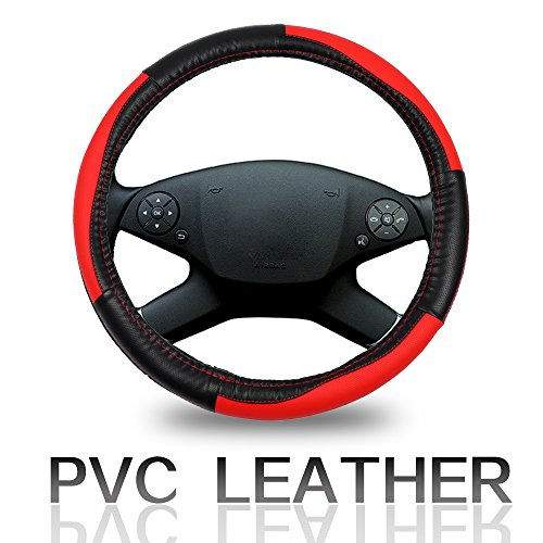 Cover 15 Inch Universal PVC Leather - Black/Red Car Steering Wheel Cover ()