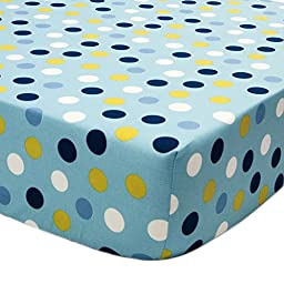Space Bot Blue Polka Dot Fitted Crib Sheet by True Baby