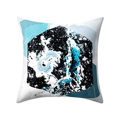 Sikye Square Pillow Cover Multi Geometric Decorative Waist Cushion Cover Throw Pillow Case Invisible Zipper for Home Car Decor (D)
