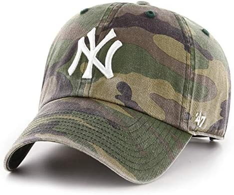 '47 Brand New York Yankees Clean Up Hat Cap Army Camo/White