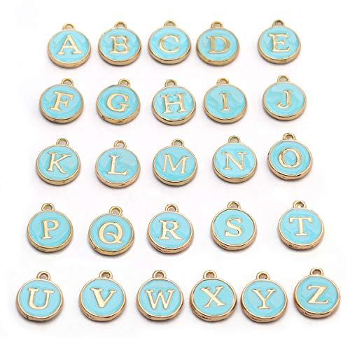 Linsoir Beads Metal Enamel Letter Charms White/Pink/Black Letter Initials Monogram Charm Alphabet Charms Craft Supplies DIY Finding 26 pcs/Set