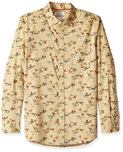 Goodthreads Men's Standard-Fit Long-Sleeve Poplin Shirt, tan Duck Print, X-Large
