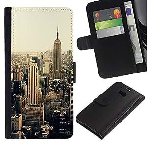 Billetera de Cuero Caso del tirón Titular de la tarjeta Carcasa Funda del zurriago para HTC One M8 / Business Style new york city sepia yellow vignette