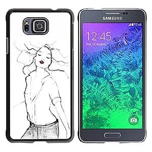 YOYOYO Smartphone Protección Defender Duro Negro Funda Imagen Diseño Carcasa Tapa Case Skin Cover Para Samsung GALAXY ALPHA G850 - labios rojos arte moda mujer sexy blanco