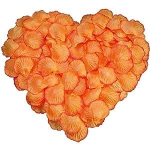 DALAMODA 1000 pcs Silk Rose Petals Artificial Flower Wedding Party Aisle Decor Tabl Scatters Confett (Orange #1) 4