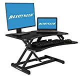 Height Adjustable Standing Desk, Alloyseed Ergonomic Sit Stand Gas Spring Riser Converter Workstation, with Quick Release Keyboard Tray