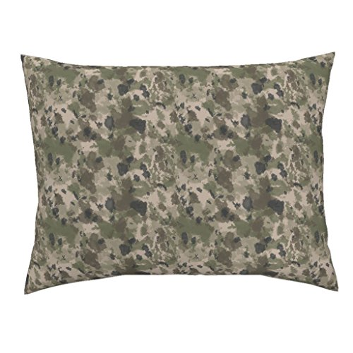 Roostery Camo Euro Knife Edge Pillow Sham Wwi Battlefield Trench Camo by Ricraynor Natural Cotton Sateen made - Trench Sateen
