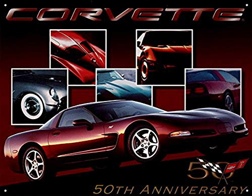 Ucland Chevrolet Chevy Corvette 50th Anniversary Tin Sign Poster - 12x16, 16x12