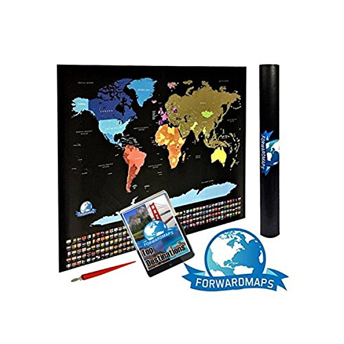 Scratch off world map poster with us states and country flags detailed authentic design the most beautiful detailed scratch off world map in the market place it is well designed with detailed landmarks and gumiabroncs
