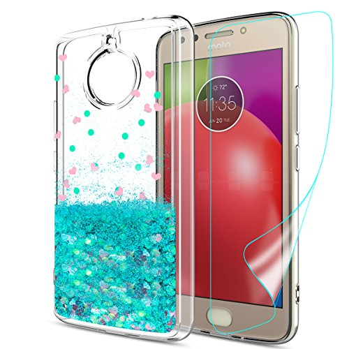 Moto E4 Plus Glitter Case (USA Version) (Not Fit E4) with HD Screen Protector,Slook Cute Liquid Glitter TPU Shockproof Protective Girly Phone Cover for for Moto E Plus (4th Generation) LS Turquoise
