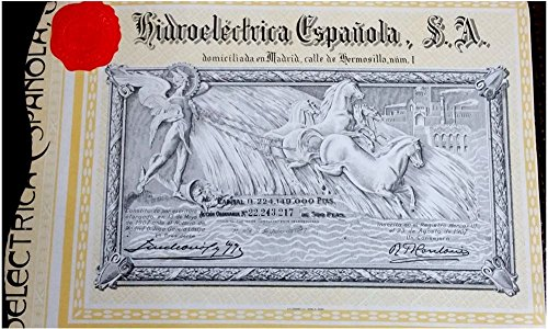 1907 ES SPAIN HYDROELECTIRC BOND w COUPONS (ENGRAVED 1907 ISSUED 1967) SELLS FOR $75 IN SPAIN! BUY NOW for $5! LMITED TIME AMAZON PROMO! 500 PESETAS Choice -