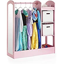 Guidecraft See and Store Dress-up Center – Pink: Pretend Play Costume Storage Wardrobe for Kids with Mirror & Shelves, Armoire with Bottom Tray, Toddlers Room Furniture