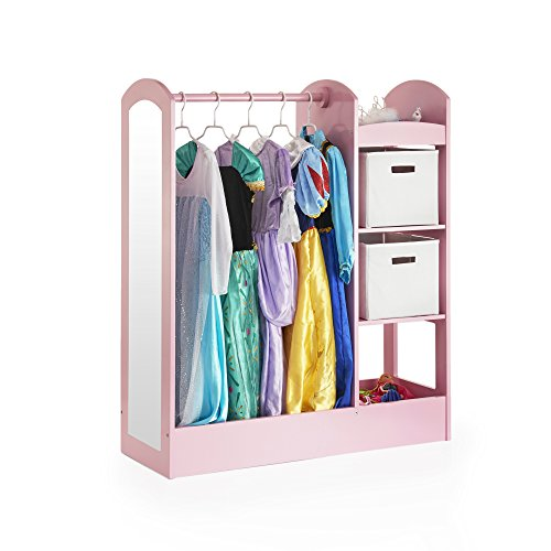 Guidecraft See and Store Dress-up Center - Pink: Pretend Play Costume Storage Wardrobe for Kids with Mirror & Shelves, Armoire with Bottom Tray, Toddlers Room Furniture