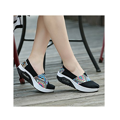 Sneakers De Mode Femmes Toile Casual Bonne Vie Respirant Léger Chaussures De Sport Athlétiques Par Btrada Noir