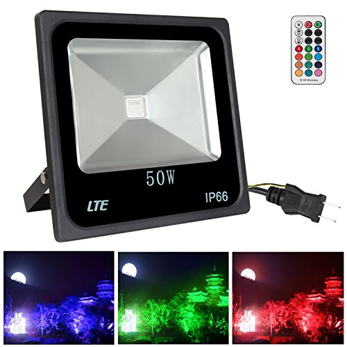 LTE LIGHTING EVEN 50W RGB LED Flood Lights Dimmable Waterproof Outdoor Color Changing Security Floodlight IP66 Super Bright for Garden, Yard, Warehouse (Wall Light 50w)