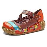 Socofy Wedges Sandals, Women's colorful Flower Vintage Slip-On Leather Shoes Platform Sandal