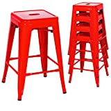 Classic Style Kitchen Dining Room Chair Stackable Backless Solid Metal Seat Set Of 4 Metal Barstools Indoor Outdoor Counter/Red #1048