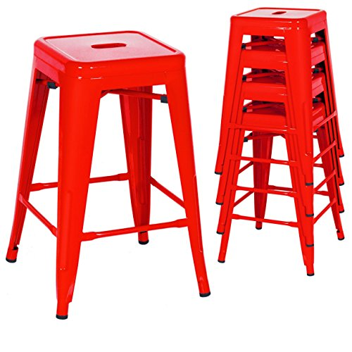 Classic Style Kitchen Dining Room Chair Stackable Backless Solid Metal Seat Set Of 4 Metal Barstools Indoor Outdoor Counter/Red #1048 (Replacement Cushions For Outdoor Furniture Melbourne)