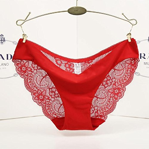 Underpants ,Beautyvan Comfortable 2016 New Women lace Panties Seamless Cotton Panty Hollow briefs Underwear (XL, Red)