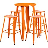 Flash Furniture 24'' Round Orange Metal Indoor-Outdoor Bar Table Set with 4 Saddle Seat Stools