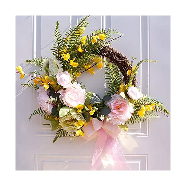 SYLOTS Artificial Spring Garden Peony Artificial Hanging Flower Wreath Fake Leaves Wreath Hanging Wall Window Party Decoration for The Front Door, Home Decor in Summer and Fall, Weddings