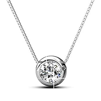 6dd940cb9 Buy Peora Women's Swarovski Elements 18K White Gold Plated Pendant Necklace  Set for Women Girls Online at Low Prices in India | Amazon Jewellery Store  ...