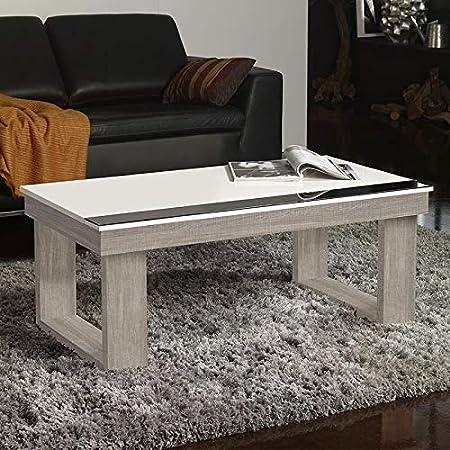 M 020 Table Basse Relevable Blanc Et Couleur Bois Clair Granada