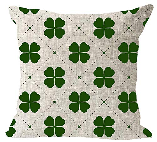 Irish Throw Cotton (Happy St. Patrick's Day Green Clover Happy Irish National Day Cotton Linen Square Throw Waist Pillow Case Decorative Cushion Cover Pillowcase Sofa 18