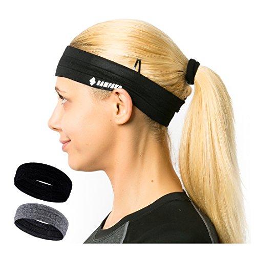 samfavo Womens Headband -Sports Headband for Running Yoga Workout Fitness Unisex Sweatband