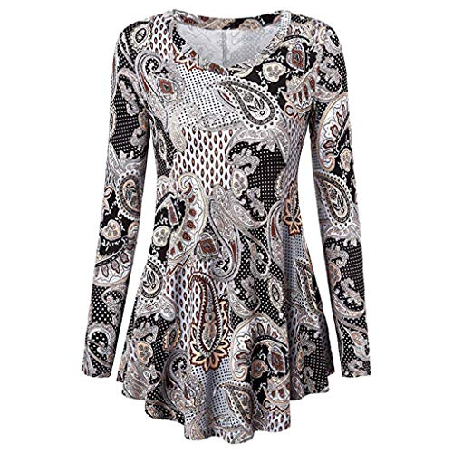 MALLOOM Womens 3/4 Sleeves Retro Floral Shirts Casual Blouse Summer Autumn Dressy Tunic Tops (Blue 2, L)