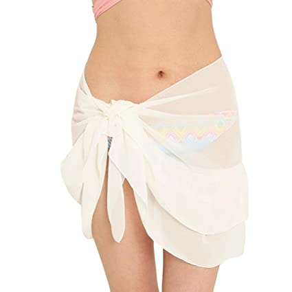 ba7e108d34 Image Unavailable. Image not available for. Color: SUKEQ Womens Chiffon Beach  Cover Up Skirt Short Sarong ...
