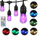 DAKASON LED Color Changing Outdoor String Lights for Patio, RGB Color Light Strands with Remote Control 48FT 24 Acrylic Light Bulbs Weatherproof Commercial Grade ETL Listed