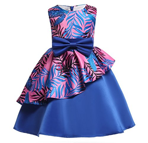 Gown Autumn (Formal Navy Blue Elegant Flower Girl Dress for Little Girls Birthday Gowns Party Pageant Satin Prom Dresses Beach Autumn Clothes Clothing Kids Knee Length Size 5 5t Age 5 Navy Blue 120)