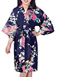 Admireme Girls' Peacock Satin Kimono Robe Bathrobe Nightgown For Spa Party Wedding Birthday