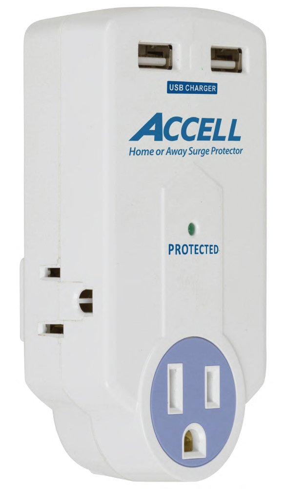 Accell D080B-010K  3-Outlet Travel Surge Protector with 2x USB Charging Ports and Folding Plug - White, 612 Joules, 2.1A USB Output, ETL Listed