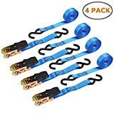 #3: Ohuhu Ratchet Strap, Ratchet Tie Downs Logistic Straps - 4 Pack - 15 Ft - 500 Lbs Load Cap with 1500lb Breaking Limit - Cargo Straps for Lawn Equipment, Moving Appliances, Motorcycle - Blue