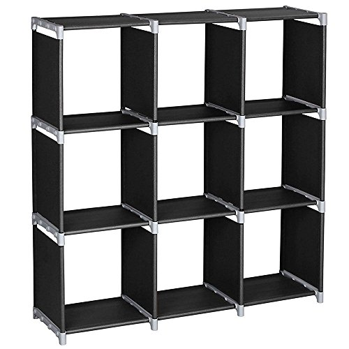 Azadx Storage Cabinets, 3-Tier, Storage Cube Closet Organizer Shelf, 6-Cube/9-Cube Cabinet Bookcase, Durable,Multifunctional,Black (9 Cubes) (Towel Mini Combination Cabinet)