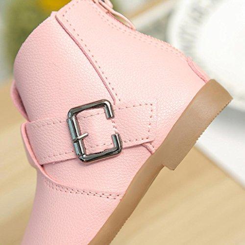 HUHU833 Kinder Mode Mädchen Stiefel Winter Kinder Schuhe Martin Stiefel Kinder Stiefel Mädchen Stiefel Aufladungs Reißverschluss beiläufige Schuhe Rosa