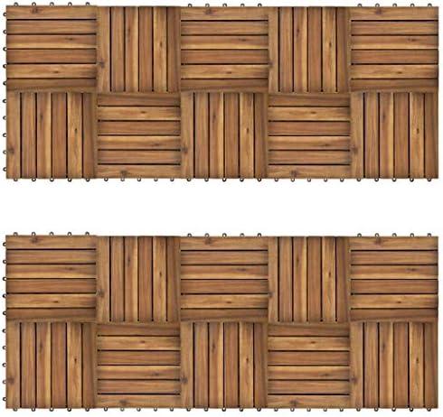 vidaXL Set Baldosas Modelo Vertical Madera de Acacia Jardín Terraza Balcón Habitación: Amazon.es: Bricolaje y herramientas