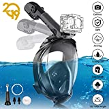 YUNDOO Full Face Snorkel Mask, 180°Panoramic View Free Breathing Foldable Tube Design, Anti-Leak Anti-Fog Snorkeling Diving Mask with Detachable Camera Mount & Adjustable Head Straps for Adult Black