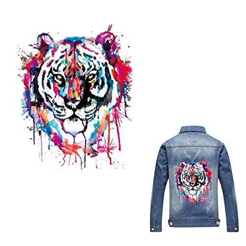 Artem Heat Transfer Sticker Tiger Patch Iron On Appliques A-Level Washable for T-Shirt Dresses Decoration DIY ()