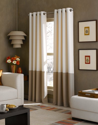 Curtainworks Kendall Color Block Grommet Curtain Panel, 120 inch, Ivory (Window 120 Panels)