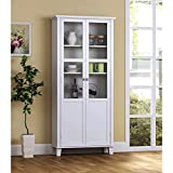 Storage Buffet, China Cabinet, 3 Adjustable and 2 Fixed Shelves, Stylish Top Molding, 2 Glass Doors, Kitchen and Dining Room Furniture Item, Painted MDF Construction, Multiple Colors