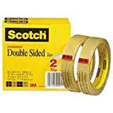 Scotch - Double-Sided Tape, 3/4'' x 1296'', 3'' Core, Transparent - 2/Pack
