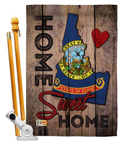Ornament Collection HS191117-P3 Idaho Sweet Home Americana States Decorative Vertical House Flag Set, 28